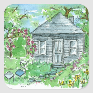Yellow Daffodil Cottage Watercolor House Painting Square Sticker