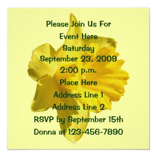 """Yellow Daffodil Floral Invitation 5.25"""" Square Invitation Card"""