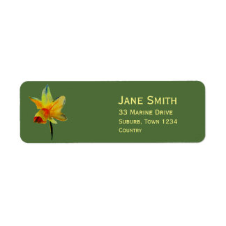 Yellow daffodil flower watercolour art return address label