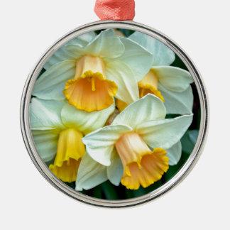 Yellow daffodil flowers metal ornament