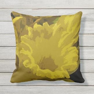 Yellow Daffodil Garden Flower Outdoor Pillow