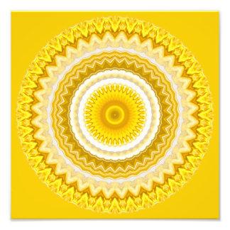 Yellow Daffodil Mandala Pattern Photo Print