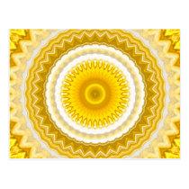 Yellow Daffodil Mandala Pattern Postcard