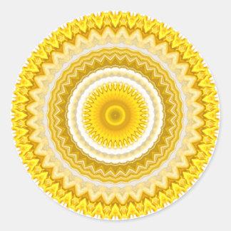 Yellow Daffodil Mandala Pattern Round Stickers