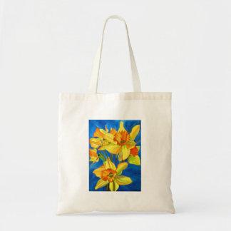 Yellow Daffodil narcissus flowers watercolor art Tote Bag