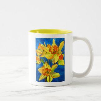 Yellow daffodil narcissus flowers watercolor art Two-Tone coffee mug