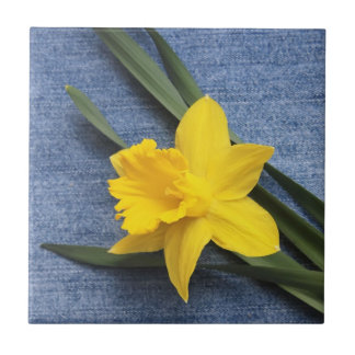 Yellow Daffodil on Blue Denim Tile