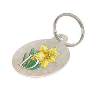 Yellow Daffodil Personalized Monogram Pet Tag