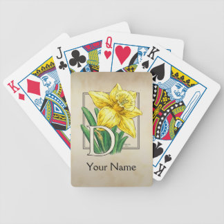 Yellow Daffodil Personalized Monogram Bicycle Playing Cards