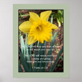 Yellow Daffodil ~ Psalm 121:7,8 Poster