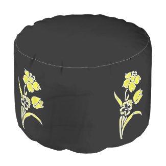 Yellow Daffodil Round Pouf