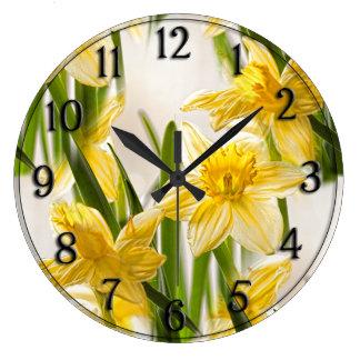 Yellow Daffodil Wallpaper Pattern Large Clock