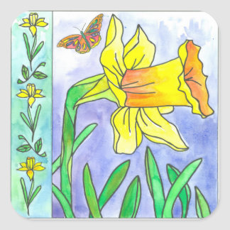 Yellow Daffodil Watercolor Flower Butterfly Square Sticker