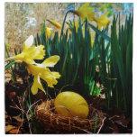 Yellow Daffodils and a Yellow Easter egg Cloth Napkins