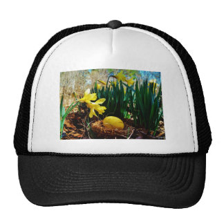 Yellow Daffodils and a Yellow Easter egg Trucker Hat