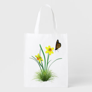 Yellow Daffodils and Butterfly Grocery Bags