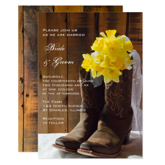 Yellow Daffodils and Cowboy Boots Country Wedding Card