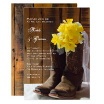 Yellow Daffodils and Cowboy Boots Country Wedding Invitation