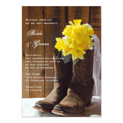 Yellow Daffodils And Cowboy Boots Country Wedding 5x7