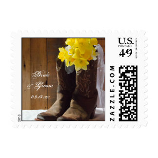 Yellow Daffodils and Cowboy Boots Western Wedding Postage Stamp