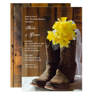 Yellow Daffodils Cowboy Boots Post Wedding Brunch Card