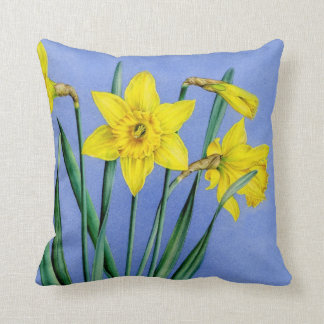 Yellow daffodils fine art floral square pillow