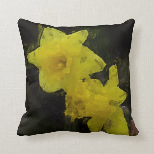 Yellow Daffodils Floral Impressionist  Pillow
