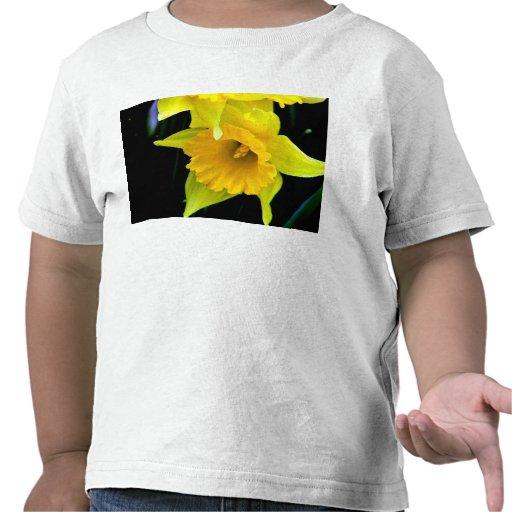 Yellow Daffodils flower in dark background Tshirts