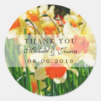 Yellow Daffodils Flower Wedding Favor Stickers