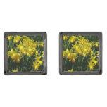Yellow Daffodils I Cheery Spring Flowers Gunmetal Finish Cufflinks