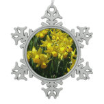 Yellow Daffodils I Cheery Spring Flowers Snowflake Pewter Christmas Ornament