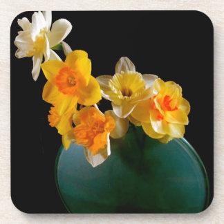 Yellow Daffodils In Vase Design Coaster