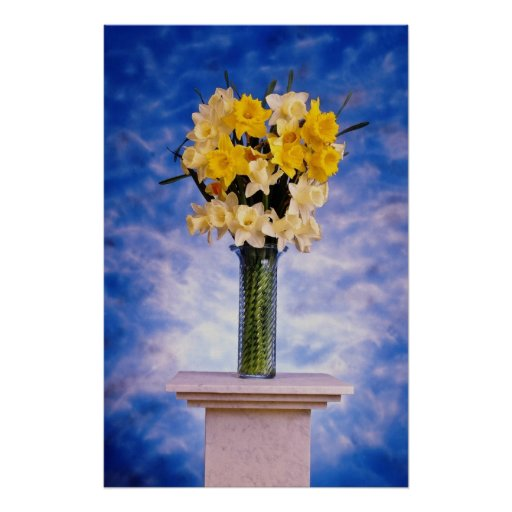 yellow Daffodils in vase flowers Poster