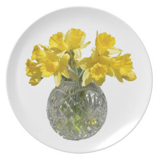 Yellow Daffodils in Vase Melamine Plate