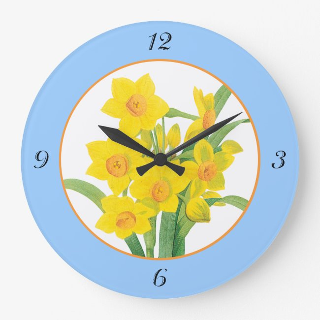 Yellow Daffodils on Blue Floral Clock 4 Numbers