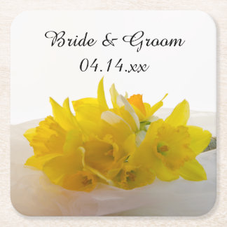 Yellow Daffodils on White Spring Wedding Square Paper Coaster