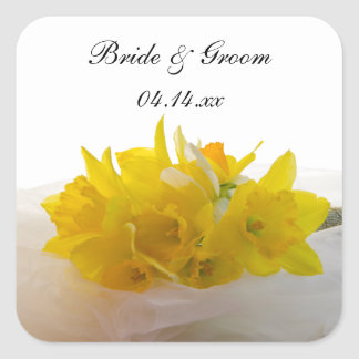 Yellow Daffodils on White Spring Wedding Square Sticker