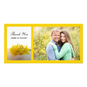 Wedding Themed Yellow Daffodils on White Spring Wedding Thank You Card