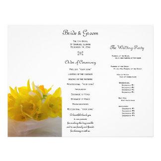 Yellow Daffodils on White Tri Fold Wedding Program