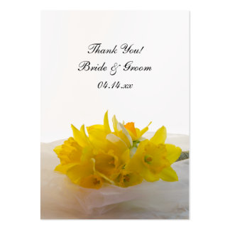 Yellow Daffodils on White Wedding Favor Tags Large Business Card