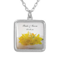 Yellow Daffodils on White Wedding Necklace