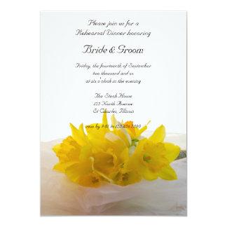 Yellow Daffodils on White Wedding Rehearsal Dinner Card