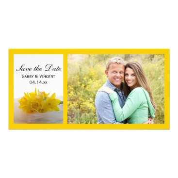 Wedding Themed Yellow Daffodils on White Wedding Save the Date Card