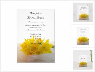 Yellow Daffodils on White Wedding Stationery