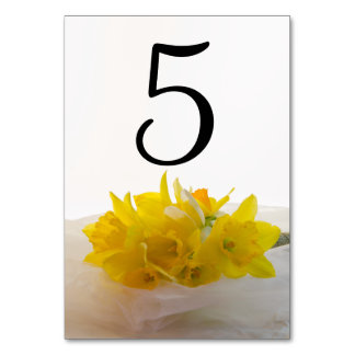 Yellow Daffodils on White Wedding Table Numbers Card