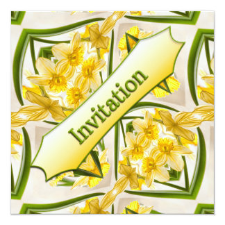 Yellow Daffodils Retro Style Card