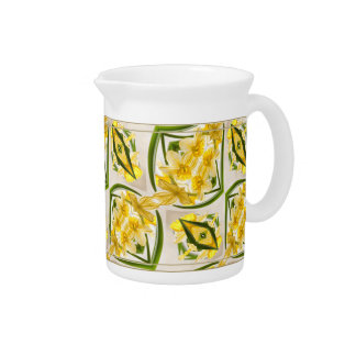 Yellow Daffodils Retro Style Drink Pitcher