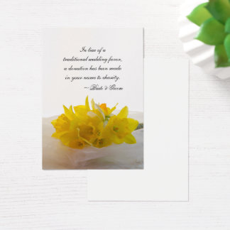 Yellow Daffodils Spring Wedding Charity Favor Card