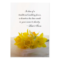 Yellow Daffodils Wedding Charity Favor Card Business Card Template