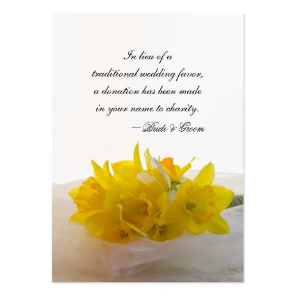 Yellow Daffodils Wedding Charity Favor Card Large Business Cards (Pack Of 100)